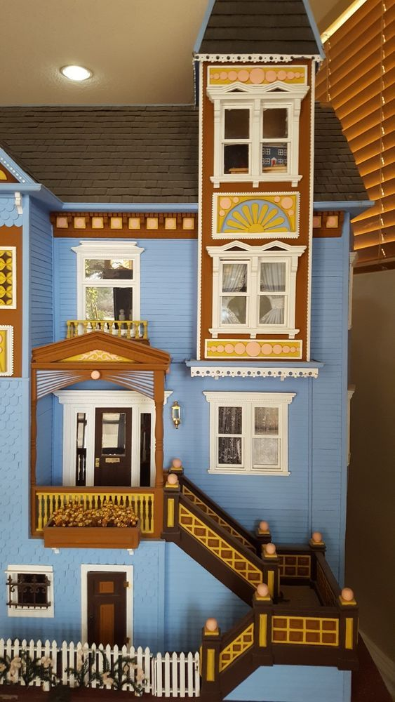 Vintage Victorian Wood 3 Floor Dollhouse Fully Assembled With Furniture Ebay Dollhouse Living Room Furniture Doll House Victorian Dollhouse