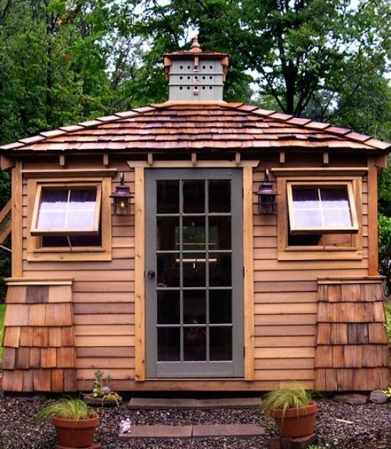 Micky Weber Built A 144 Square Foot Garden Escape In North Collins N Y Working Off A Sketch Made By His Wif Building A Shed Backyard Sheds Shed Building Plans