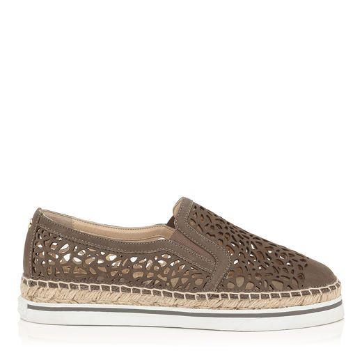 JIMMY CHOO Dawn Taupe Grey Laser Perforated Suede Espadrilles. #jimmychoo #shoes #s