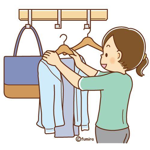洋服をハンガーにかける女性のイラスト ソフト Ilustracion Editorial Embarazo Dibujo Ilustraciones
