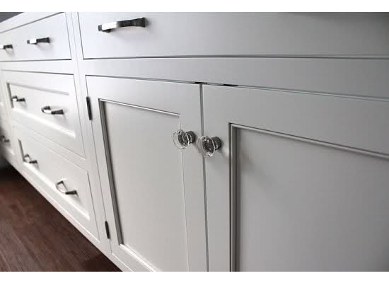 Shaker white inset cabinets in Dove White, exposed hinges, Amerock  revitalize hardware (satin