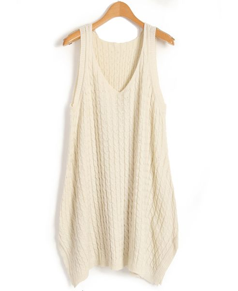 Nude V Neckline Textured Vest Dress