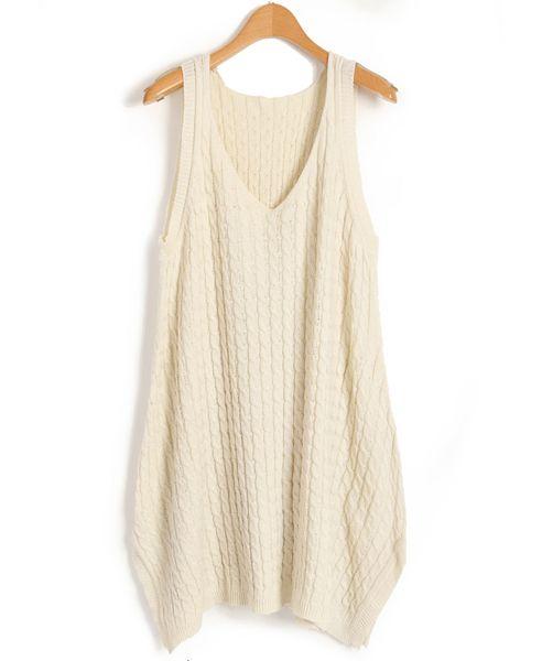Nude V Neckline Textured Vest Dress
