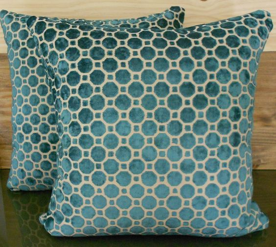 Pair of dark turquoise velvet decorative pillow covers. $96.00, via Etsy.
