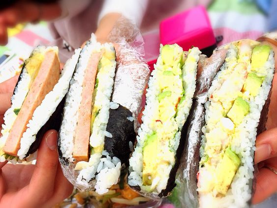 Mix of sandwiches and rice balls