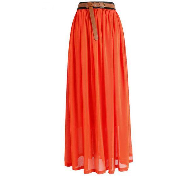 Orange Stylish Chiffon Maxi Skirt found on Polyvore featuring polyvore, fashion, clothing, skirts, bottoms, orange, red maxi skirt, bohemian maxi skirt, long maxi skirts and chiffon skirt