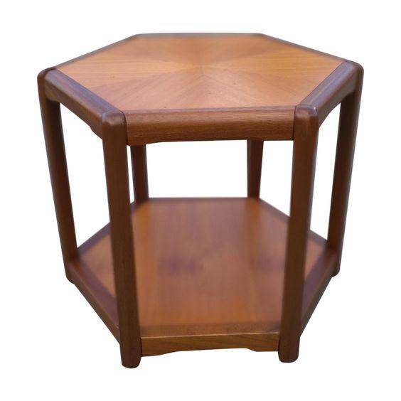 Vintage Danish Teak Hexagonal Side Table