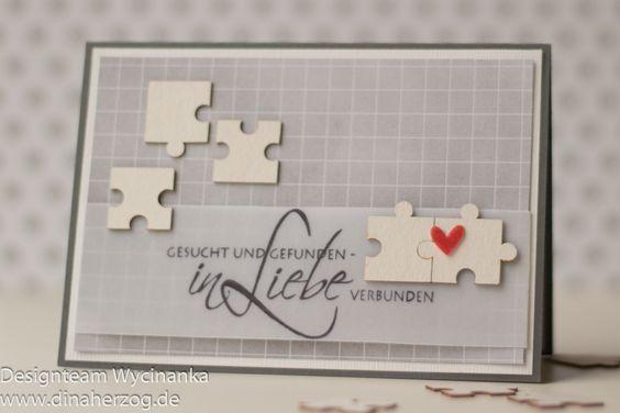 Sind sie nicht allerliebst, die kleinen Puzzle-Teilchen von Wycinanka? Die standen ganz oben auf meiner Wunschliste – perfekt für eine Karte zur Hochzeit! Das Papier stammt aus dem 6×8″ `Hello Beautiful´- Paperpad von Heidi Swapp, der Stempel ist von Rayher.Liebe Grüße, Dina