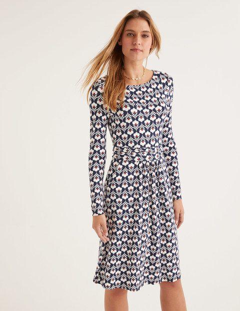 Abigail Jersey Dress Navy And Ivory Petal Head Jersey Dress Dresses Versatile Fashion