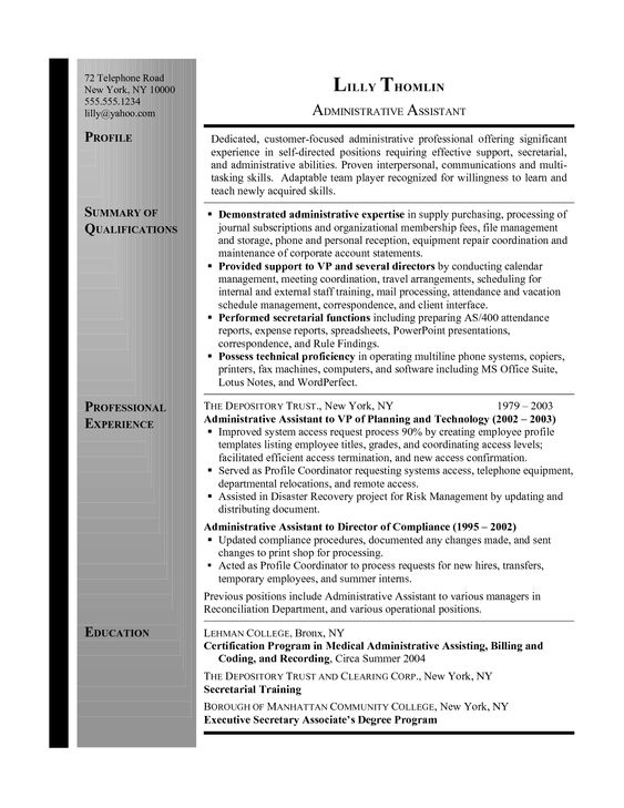 17 Best images about My Career on Pinterest Professional resume - executive secretary resume sample