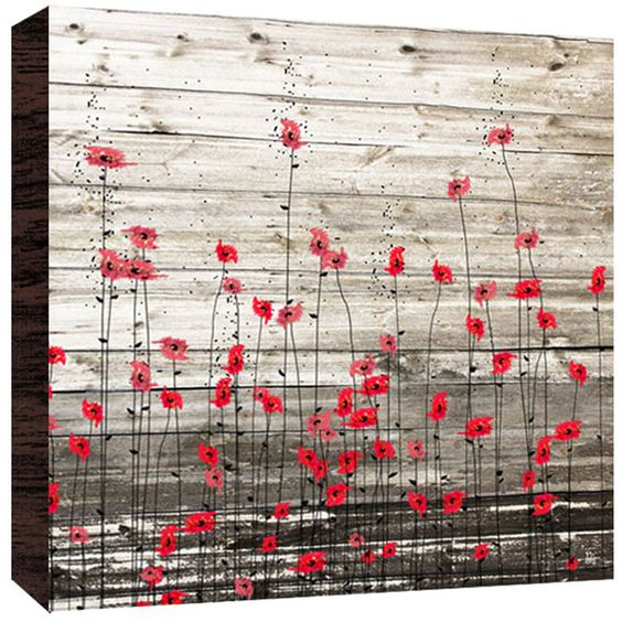 Little Flowers Painting Print in Red