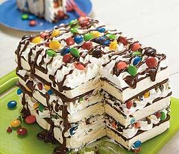 ice cream sandwich cake - so easy ice cream sandwichs stacked with cool whip, chocolate syrup & m's.