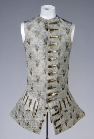 Sleeveless Waistcoat, 1760, Germany, gray-green silk, gold and silver metallic thread, lining:  gray-green silk, linen / cotton. GERMANISCHES NATIONALMUSEUM