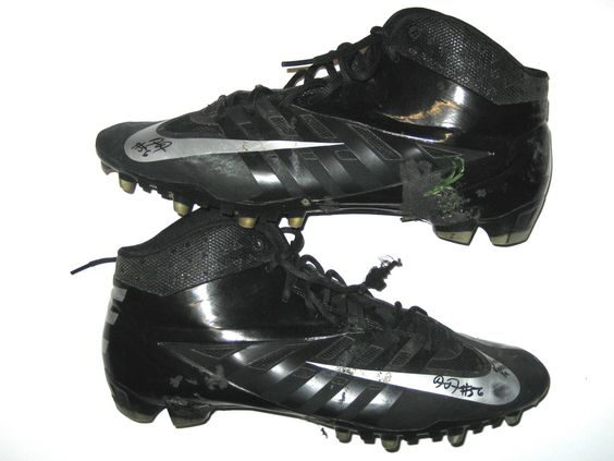 Demario Davis New York Jets Rookie Game Worn & Signed Black & Silver Nike Cleats