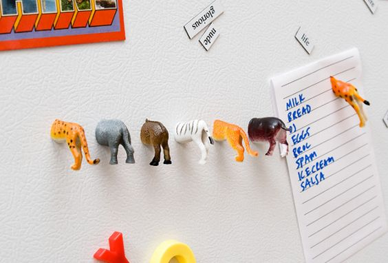cut plastic animals in half. glue strong magnet to cut end. attach to fridge for fun magnets or attach one half of animal to glass pane of window and the other half to the other side of window pane matching the first half to make it appear as if it has passed through the glass pane.