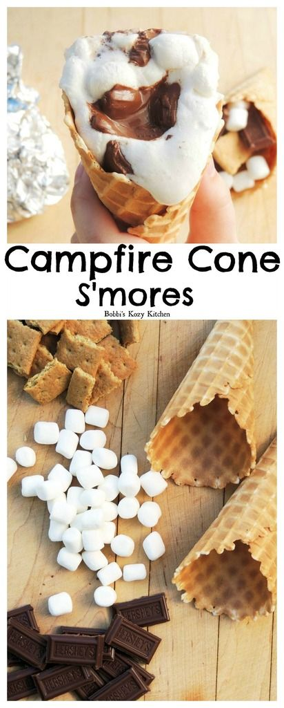 Campfire Cone S'mores - A fun way to enjoy your favorite campfire treat! From www.bobbiskozykitchen.com #LetsMakeSmores #ad