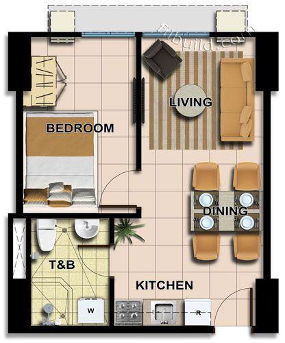 Studio Apartment Floor Plans 500 Sqft Google Search Condo Floor Plans Small House Design Small Apartment Design