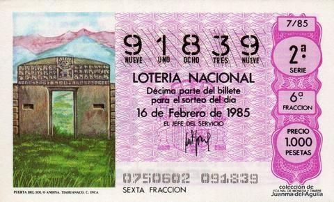 Décimo Del Sorteo Extraordinario De Lotería De San Valentin Celebrado El 16 De Febrero De 1985 Coleccionismo Loteria Col Lotería Nacional Lotería Sorteo