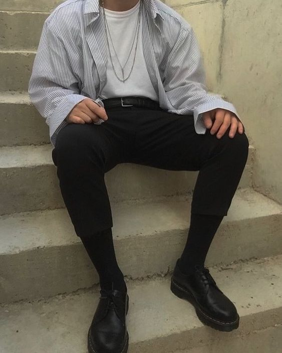 Men's Fashion- Simple white shirt, black pants outfit with a young lively touch...