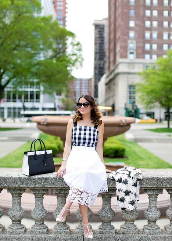 kate spade new york broome street gingham peplum tank as styled by @jennifer_lake.:
