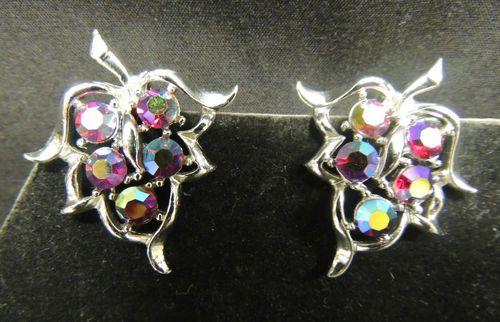 VTG Earrings Silver Leaf Designer SIGNED Sarah Coventry SAC Red AB Rhinestone
