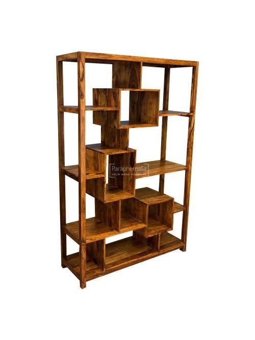 Gaya Cube Sheesham Multi Shelf Display Unit Bookcase Wood Bookshelves Cube Furniture Sheesham Furniture