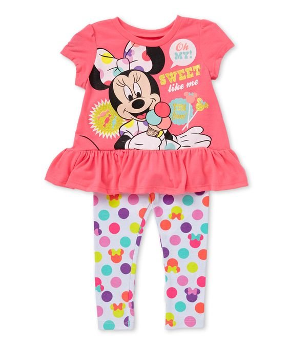 Pink Minnie Mouse Ruffle Tunic & Polka Dot Leggings - Toddler by Minnie Mouse #zulily #zulilyfinds $10.99