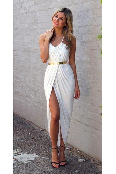 Accessorize a white dress v neck
