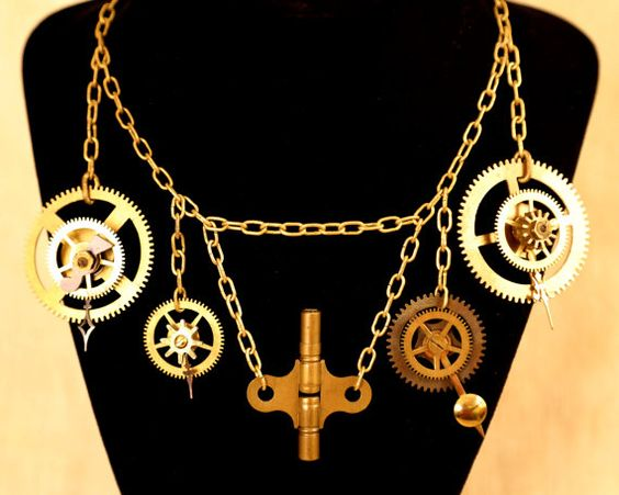 Steampunk Clock Multiple Pendent Necklace by CodachromeCreations  Handmade item Cost:$125 usd Length: 20 - 28 inck inches Materials: Vintage clock parts, Screws and nuts, Jump rings, Clock key Ships worldwide from Thousand Oaks, California