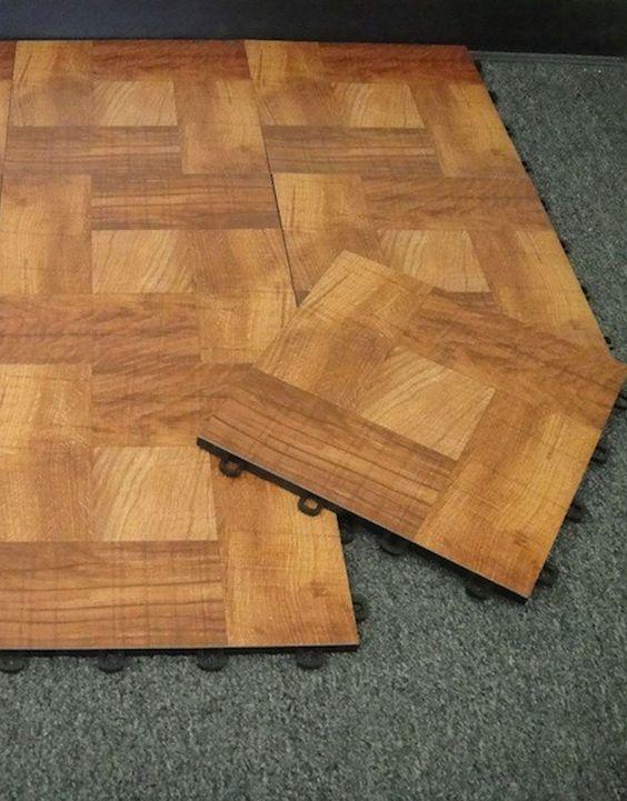 Interlocking Vinyl Top Wood  Modular Floor Tiles