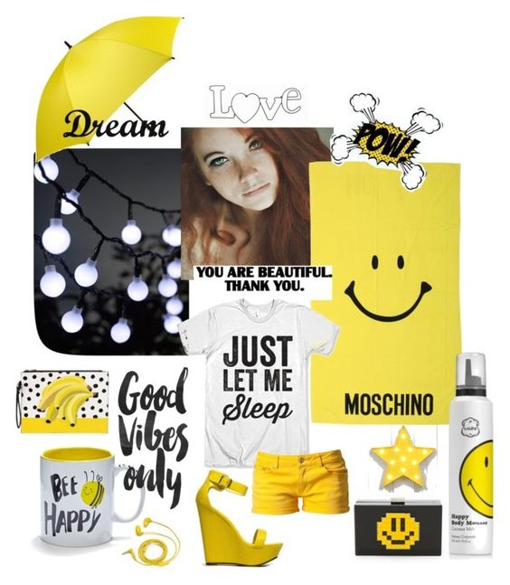 """""""HAPPY"""" by irena-matotek ❤ liked on Polyvore featuring Moschino, Les Petit Joueurs, Universal Lighting and Decor, Dot & Bo, FOSSIL, Svea, Breckelle's, women's clothing, women and female"""
