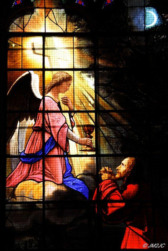 Jesus au jardin des oliviers vitrail de la chapelle for Au jardin des oliviers