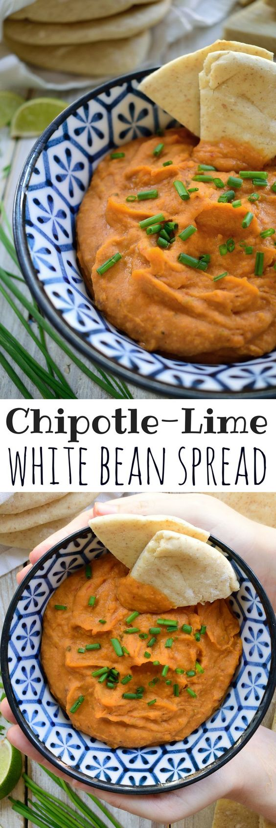 White beans are the basis for this vegan-friendly chipotle-lime spread. Take it as a dip with pita bread or slather it on sandwiches, burritos, wraps or quesadillas!