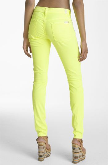 Is this too much?  7 For All Mankind® 'The Skinny' Overdyed Jeans (Neon Citron Wash) available at Nordstrom: Skinny Jeans, Neon Jeans, Bright Fashion, Overdyed Jeans, Women S Jeans, Jeans Colored, Colored Jeans