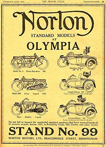 'Norton Motorcycles - Olympia 1921' - Fantastic A4 Glossy Print Taken From A Vintage Motorcyle Ad by Design Artist http://www.amazon.co.uk/dp/B019H6F5NY/ref=cm_sw_r_pi_dp_GtSCwb1GVY7YW