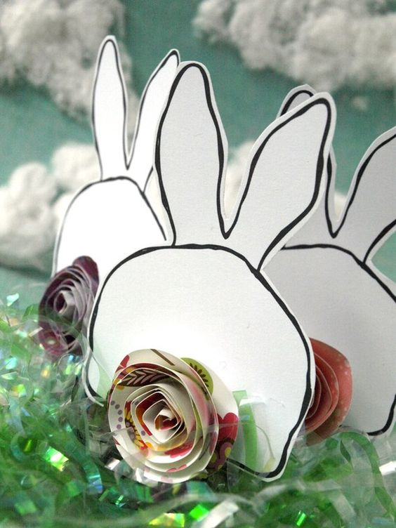 easter bunnies with paper rose tails! from psitsinthedetails on Etsy