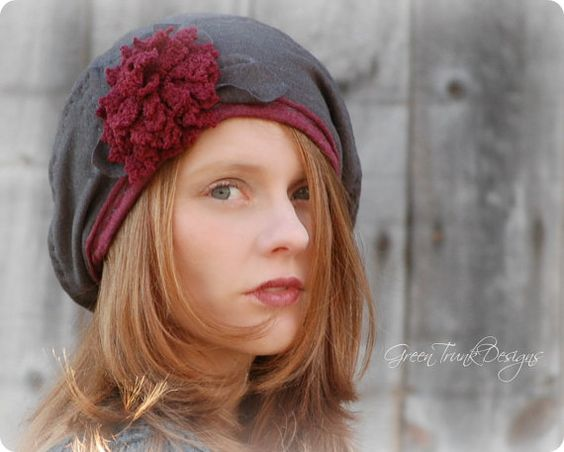Slouchy Beret Hat in Gray and Burgundy by GreenTrunkDesigns, $45.00