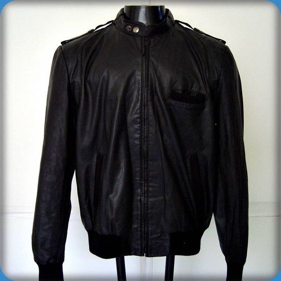 classic directions vintage #80s mod cafe racer leather biker jacket mens l black from $149.99