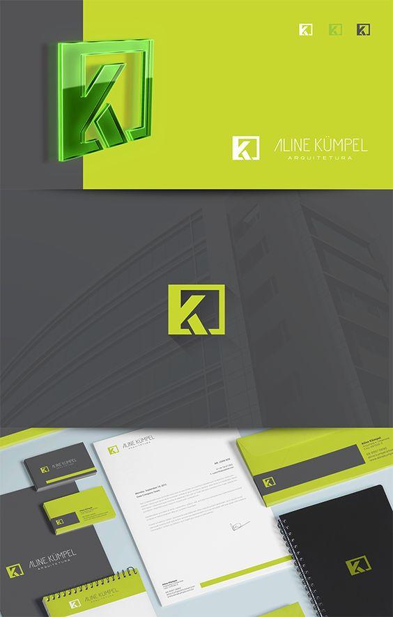 Criação de Identidade visual completa para Aline Kümpel, arquiteta e urbanista.  Logo e Papelaria.  Cacoal – Ro