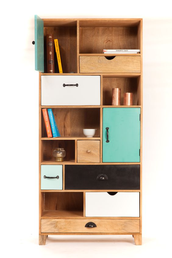 Bibliothéque design scandinave à tiroirs