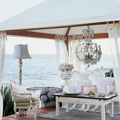 Our 50 Prettiest Island Rooms     Add the spirit of the islands to your home with ideas from these inspiring spaces.Seaside Decadence     This teahouse is a space designed for indulging. A French iron daybed, crystal chandelier, gauzy tie-top drapes, and garden urns filled with seashells make it an ideal spot for watching a sunset.