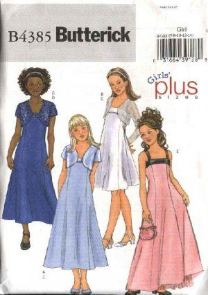 Butterick Sewing Pattern 4385 Girls Plus Size 10½-16½ Formal Short Long Dress Bolero Shrug