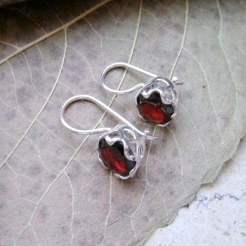 Granat-Ohrringe-Ohrhaenger-925-Sterling-Silber