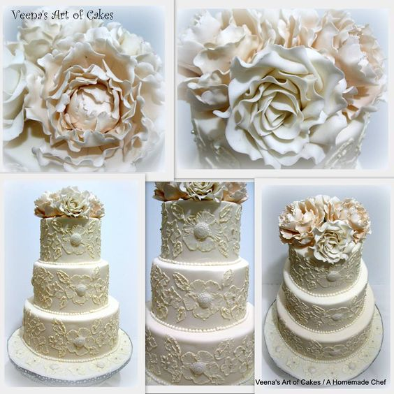 Brush Embroidery Lace Inspired Wedding Cake - by Veena's Art of Cakes
