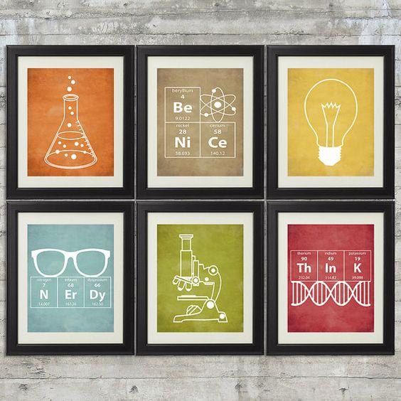 Nerdy Science Art    set of 6 8x10 Prints by PrintsAndPrintables