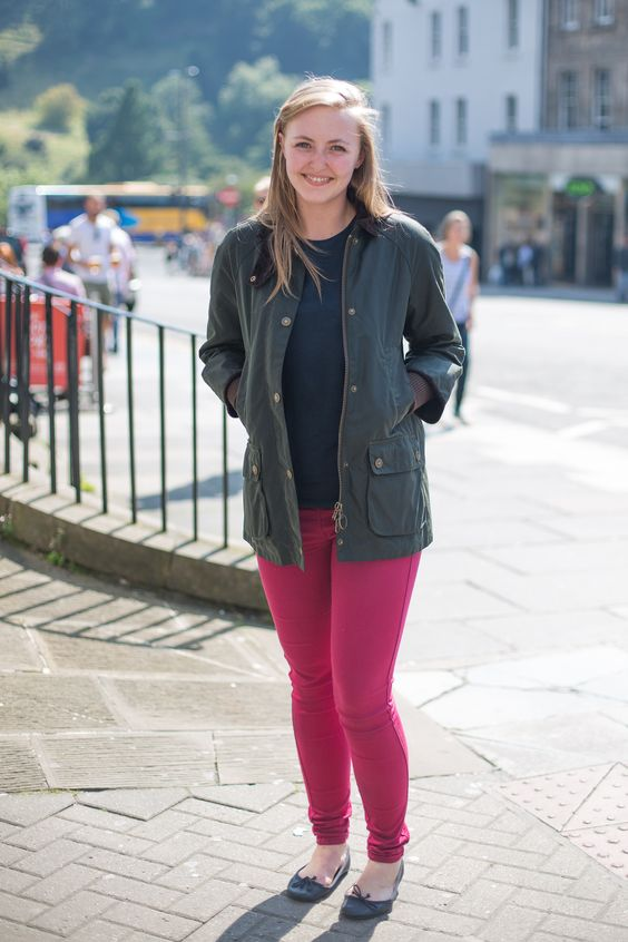 We captured Brianna wearing her Barbour Wax Jacket while enjoying the summer sun at the Edinburgh fringe festival.