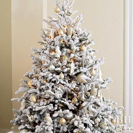 The Top Christmas Tree Decorating Trends According To Our Editors Flocked Christmas Trees Christmas Tree Colour Scheme Christmas Tree Themes