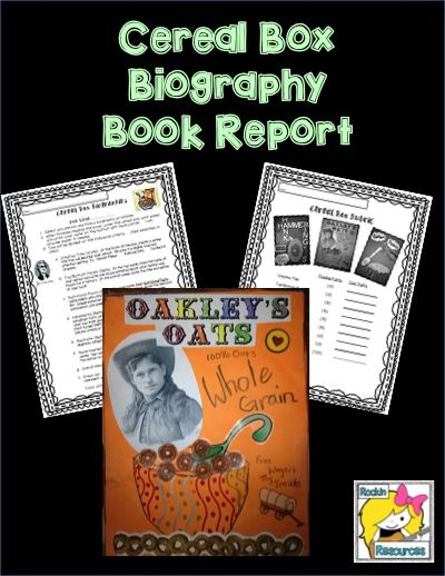 Book Report Cereal Box Biography Book Reports Book And Biography Books