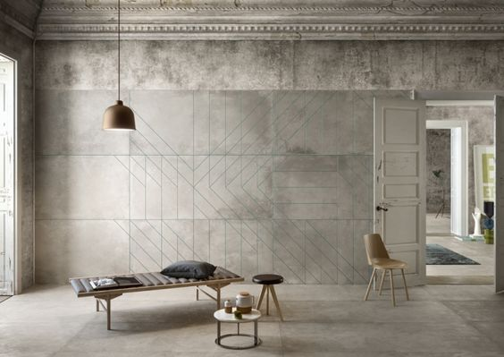 Barbara Brondi & Marco Rainò of BRH+ craft ceramic tiles which express concrete surface with geometric patterns for Matrice.