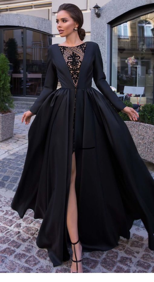 Lovely black dress with side slit | Inspiring Ladies